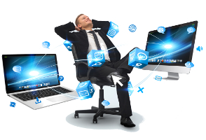 Businessman on his chair at the office connected to modern devices